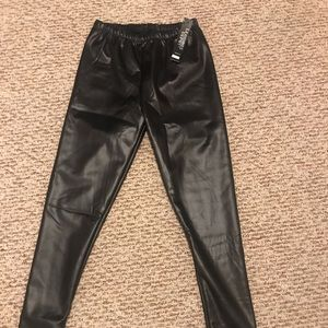 City Chic Leather Leggings - small